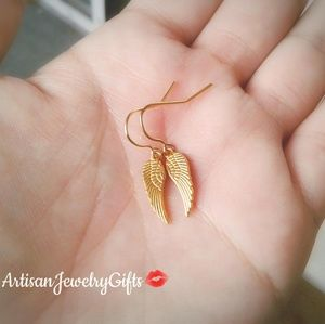 Tiny Gold Angel Wing Earrings